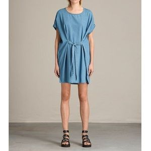 All Saints Sonny Denim Tie Dress Indigo Blue